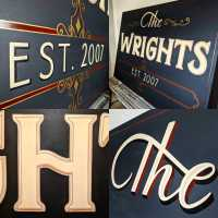 the-wrights-family-sign-commission-sign-handpainted-scrolls-gold-traditional-signwriting-signwriter